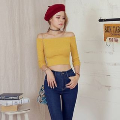 DABAGIRL - Off-Shoulder Long-Sleeved Crop Top