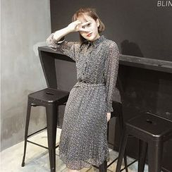 OCTALE - Long-Sleeve Floral Chiffon Dress