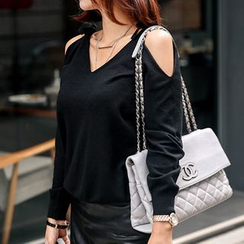 Seoul Fashion - Beribboned Cutout-Shoulder Knit Top