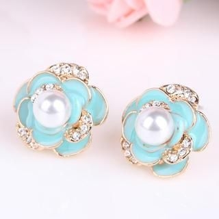 Supermary - Rhinestone Corsage Accent Earrings