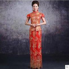Vivian Qipao - 2 Pieces Evening Gown: Cheongsam Top + Skirt