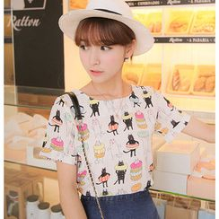 YOZI - Short-Sleeve Printed Chiffon Top