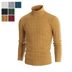 DANGOON - Turtle-Neck Cable-Knit Sweater