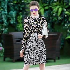 Queen Mulock - Long-Sleeve Floral Dress