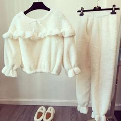 Happy Bird - Pajama Set: Frilled-Trim Fleece Top + Pants