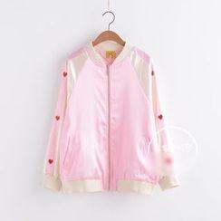 PANDAGO - Heart Embroidered Light Bomber Jacket
