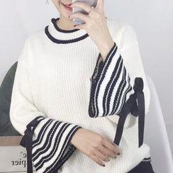 Cloud Nine - Striped Bell Sleeve Sweater