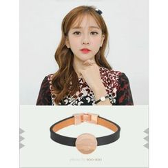 soo n soo - Disc Pendant Faux-Leather Bracelet