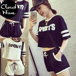Cloud Nine - Set: Contrast Lettering T-shirt + Shorts