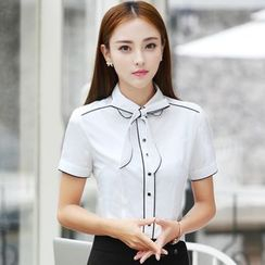 illusione - Short-Sleeve Bow-Accent Blouse / Pencil-Cut Skirt