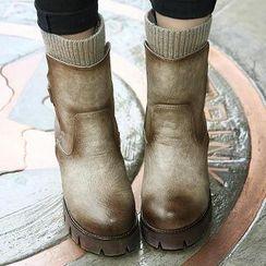 Mancienne - Knit-Trim Chunky-Heel Short Boots