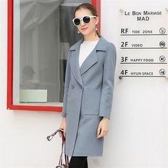 Donnae - Notch Lapel Long Woolen Coat