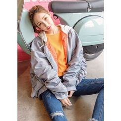 J-ANN - Shirred-Sleeve Hooded Bomber Jacket