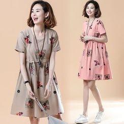 EFO - Short-Sleeve Patterned A-Line Dress