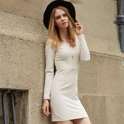 Ranee - Studded Cutout-Shoulder Sheath Dress
