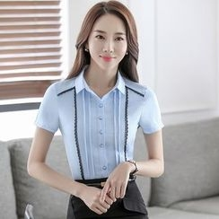 illusione - Short-Sleeve Paneled Blouse / Pencil-Cut Skirt