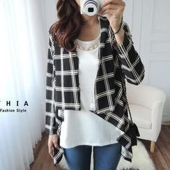 CYNTHIA - Set: Patterned Cardigan + Chain-Accent Tank Top