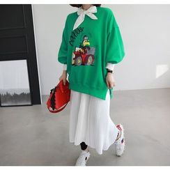Miamasvin - Slit-Side Printed Oversize Sweatshirt