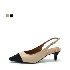 MODELSIS - Genuine Leather Toecap Sling-Back Pumps