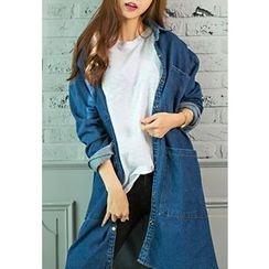 REDOPIN - Pocket-Detail Long Denim Shirt