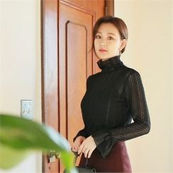 Styleberry - Zip-Back Sheer Lace Top