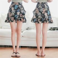 Babi n Pumkin - Zip-Back Ruffled-Hem Patterned Skirt