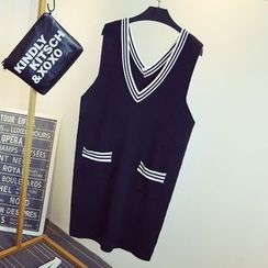 KASA - Stripe Trim V-Neck Sleeveless Knit Dress