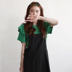 NIPONJJUYA - Shirred Short-Sleeve Cotton T-Shirt