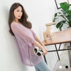 OrangeBear - 1/2-Sleeve Open Knit Sweater
