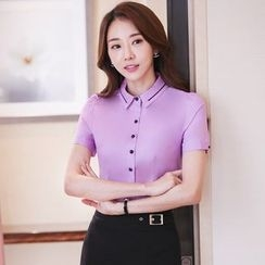 illusione - Short-Sleeve Blouse / Pencil-Cut Skirt