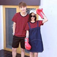 Azure - Couple Matching Striped Short Sleeve T-Shirt