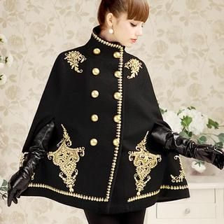 Dabuwawa - Wool-Blend Double-Breasted Embroidered Cape Jacket