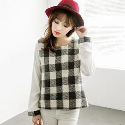 Tokyo Fashion - Contrast-Sleeve Check Blouse