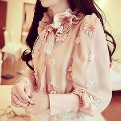 Karussell - Embroidered Chiffon Blouse
