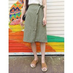 FROMBEGINNING - Linen Blend Midi Wrap A-Line Skirt