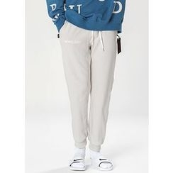 GERIO - Drawstring-Waist Lettering Sweat Pants