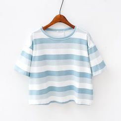 Sunny Day - Stripe Cropped Short-Sleeve T-Shirt