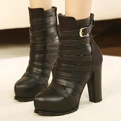 Mancienne - Buckled High-Heel Short Boots