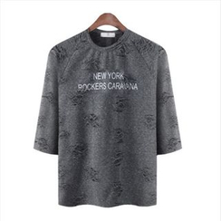 WIZIKOREA - 3/4-Sleeve Lettering Distressed T-Shirt