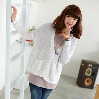 YesStyle Z - V-Neck Dip-Back Cardigan