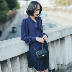 11.STREET - Tie-collar Pleated Chiffon Dress