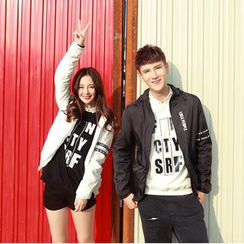 Evolu Fashion - Couple Hooded Lettering Zip Jacket