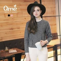 Tokyo Fashion - Lace Trim Patterned Long Sleeve Top