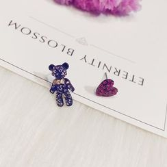 PERILLA - Rhinestone Non-Matching Earrings