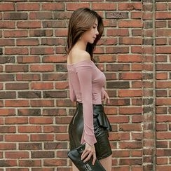 UUZONE - Off-Shoulder Slim-Fit Top