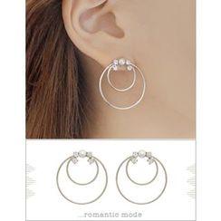 soo n soo - Rhinestone Faux-Pearl Layered Earrings