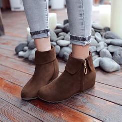 Blingon - Hidden Wedge Zip Ankle Boots