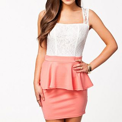 Noctiluca - Lace Trim Sleeveless Peplum Mini Dress