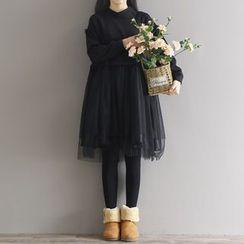 Clover Dream - 網紗拼接長袖連衣裙