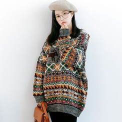 Forest Girl - Patterned Chunky Knit Sweater